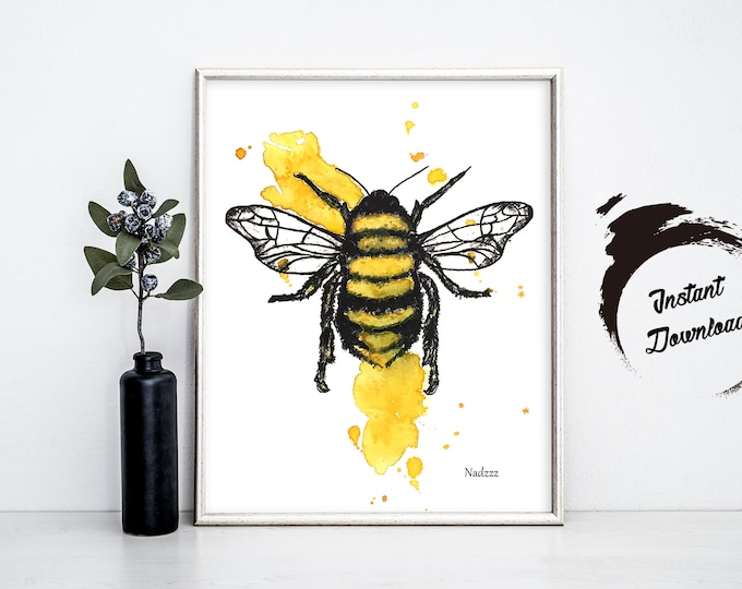 Bee watercolor INSTANT DOWNLOAD in JPEG file