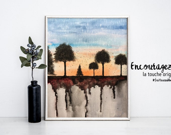 Watercolor Landscape Print.