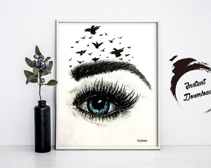 BLUE EYE Illustration, Instant Download in JPEG file