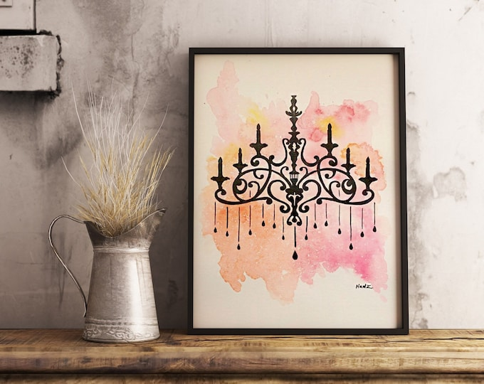 Original watercolor, chandelier, vintage, 9x12 made on watercolor paper 140 lbs.