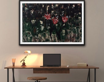 Toile abstraite 36x24 pouces, peinte sur canvas Artiste.