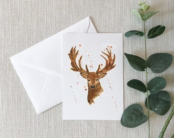 Deer Watercolor Greeting Card