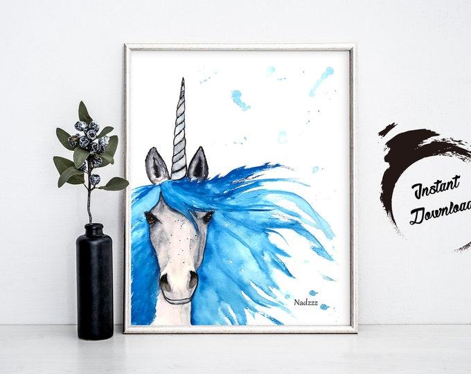 Unicorn watercolor INSTANT DOWNLOADr in JPEG file