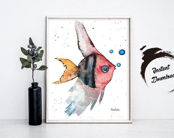 Fish watercolor INSTANT DOWNLOAD in JPEG file