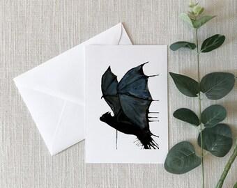 Bat Watercolor Greeting Card