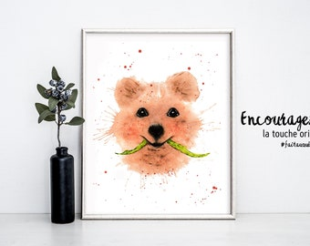 Quokka watercolor print.