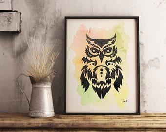 Original watercolor OWL 9x12 made on watercolor paper 140 lbs.