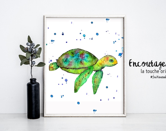 TURTLE Watercolor Print.