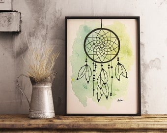 Original watercolor, dreamcatcher, 9x12 made on watercolor paper 140 lbs.