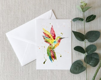 HUMMINGBIRD Watercolor Greeting Card