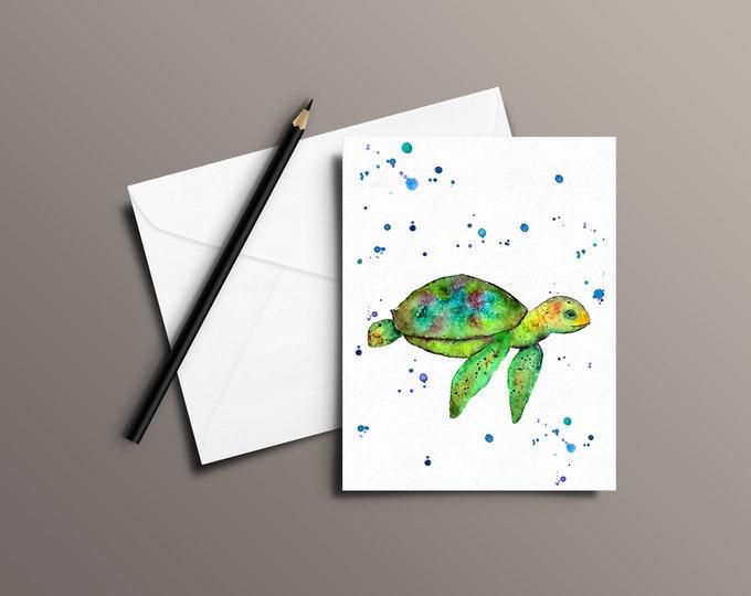 Turtle Watercolor Greeting Card