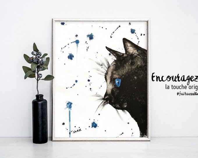 Black cat watercolor print.