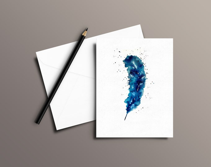 FEATHER Watercolor Greeting Card