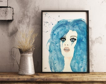 Original watercolor, woman portrait, 9x12 made on watercolor paper 140 lbs.