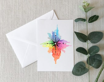 COMPASS Watercolor Greeting Card