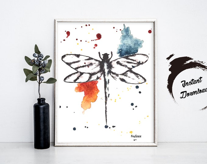 Dragonfly watercolor INSTANT DOWNLOAD in JPEG file
