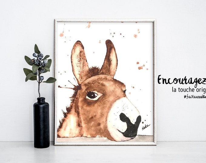 Donkey Watercolor Print.