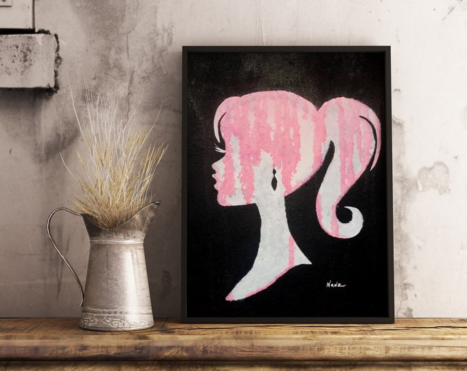original acrylic painting, cameo girl silhouette, 9x12 made on canvas panel.