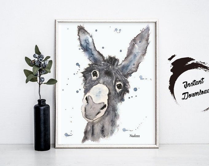 INSTANT DOWNLOAD, donkey watercolor in JPEG file