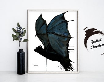 Bat watercolor INSTANT DOWNLOAD in JPEG file