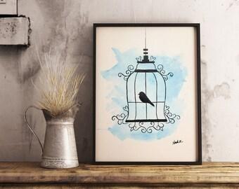 Original watercolor, bird cage, 9x12 made on watercolor paper 140 lbs.