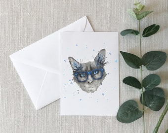 Cat with glasses Watercolor Greeting Card