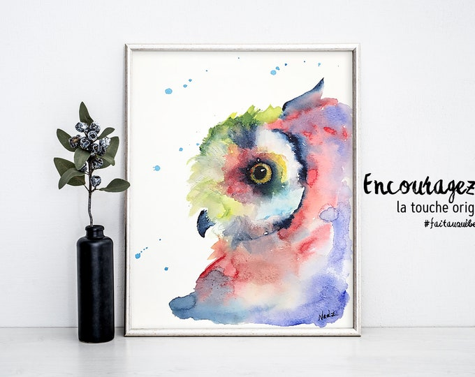 Owl watercolor print.