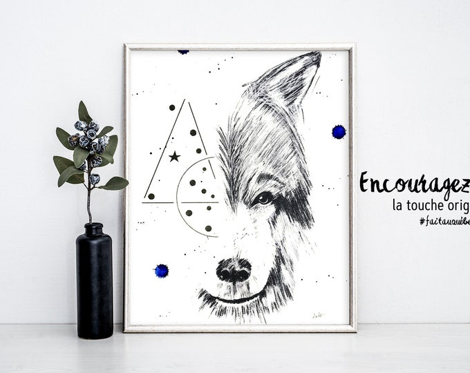 Wolf Watercolor Print
