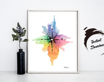 Watercolor Compass INSTANT DOWNLOAD in JPEG file