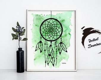 Dreamcatcher Watercolor, Instant Download in JPEG file