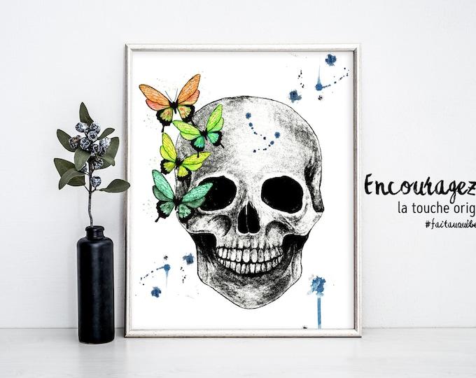 SKULL Watercolor Print