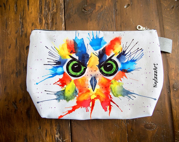 Large all purpose pouch, owl watercolor.
