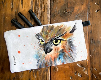 Pencil case made from an original watercolor.