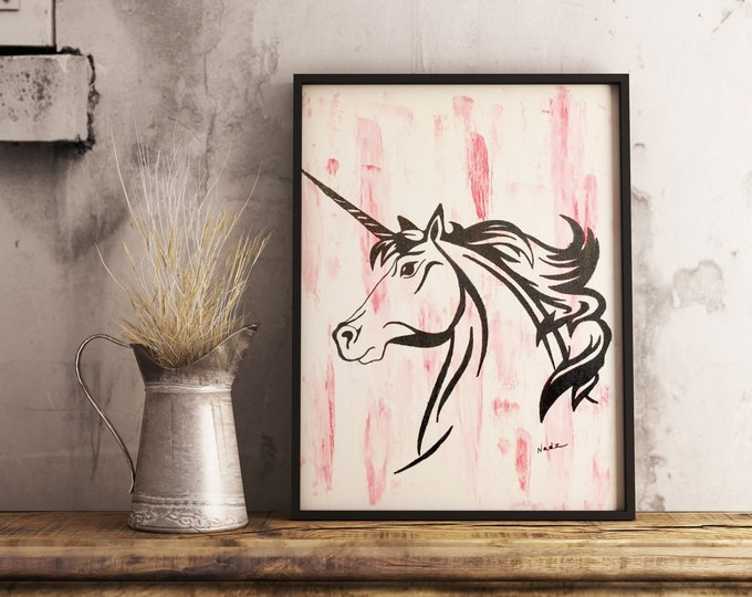 Original watercolor, unicorn, silhouette, 9x12 on canvas.