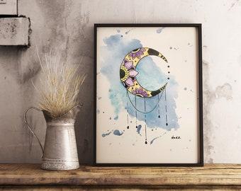 Original watercolor, mandala moon, 9x12 made on watercolor paper 140 lbs.