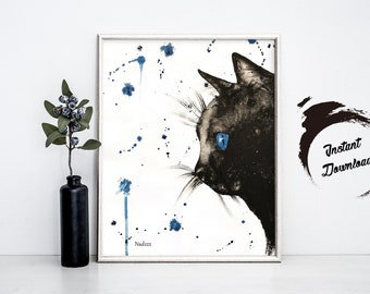 INSTANT DOWNLOAD, Black Cat watercolor in JPEG file