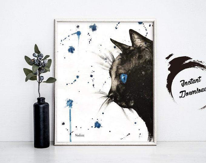 INSTANT DOWNLOAD, Black Cat watercolor in JPEG file