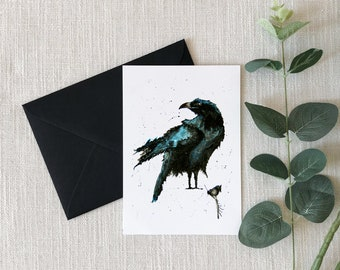 Crow Watercolor Greeting Card