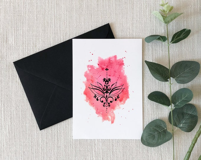 lotus Watercolor Greeting Card