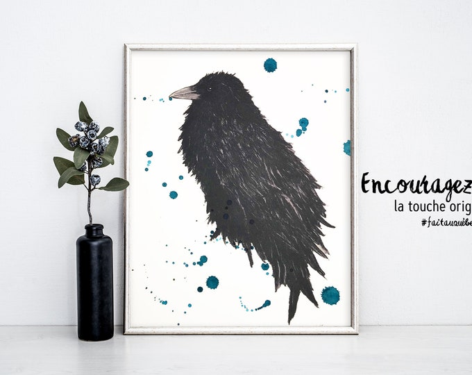 Crow Watercolor Print