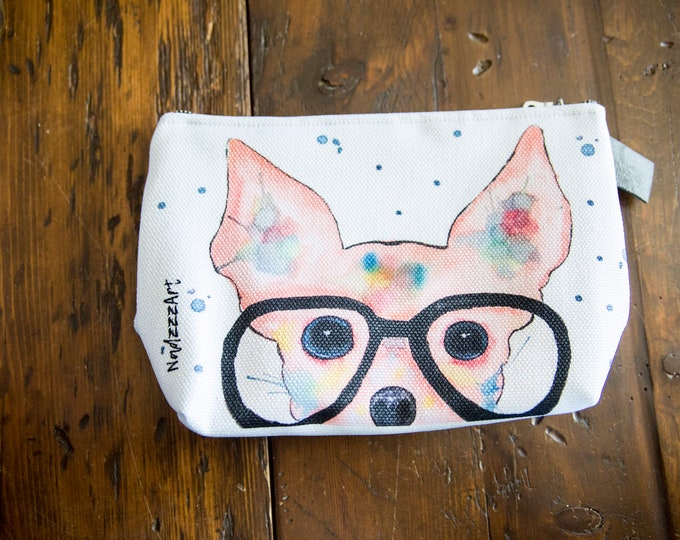 Large all-purpose pouch, Chihuahua watercolor