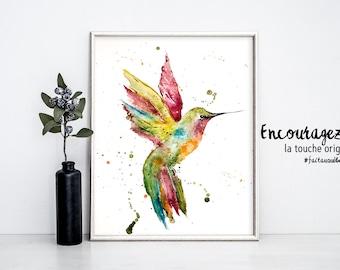 Watercolor Print HUMMINGBIRD.