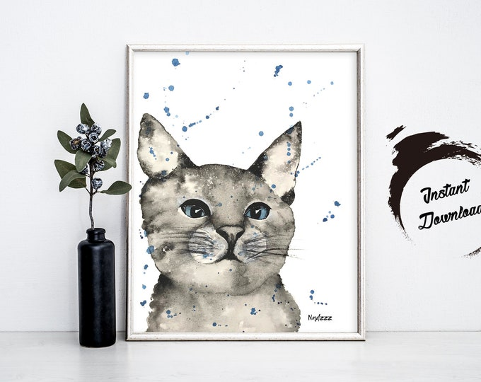 CAT watercolor, Instant Download in JPEG file