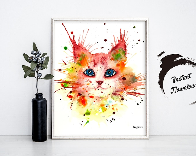 BABY CAT watercolor, Instant Download in JPEG file