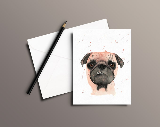 Pug Watercolor Greeting Card