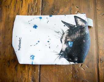 Large all-purpose pouch, watercolor Black Cat