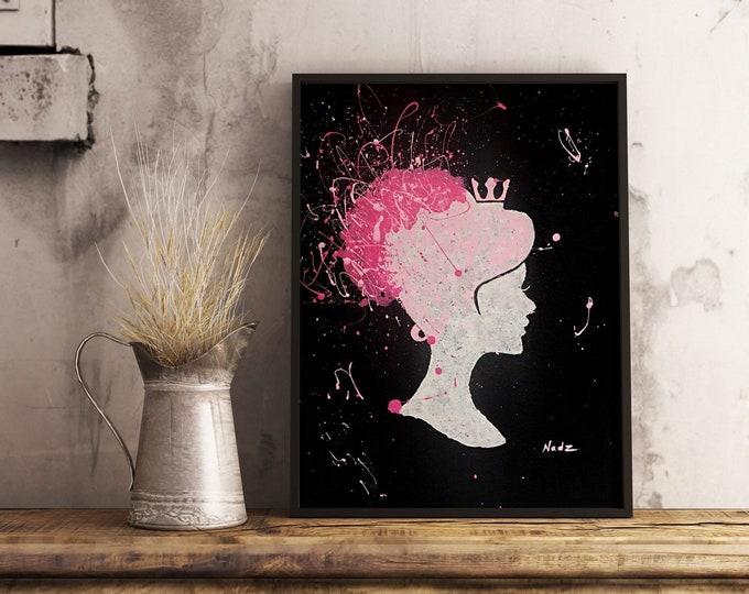 original acrylic painting, cameo girl silhouette, 11x14 made on canvas panel.