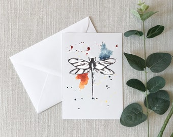 DRAGONFLY Watercolor Greeting Card