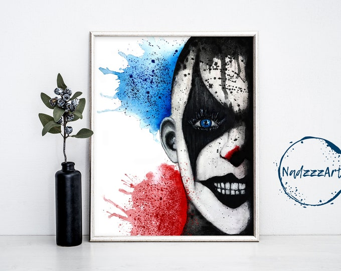 CLOWN Watercolor Print.