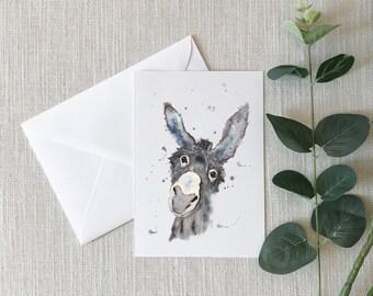Donkey Watercolor Greeting Card